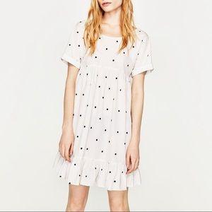 Zara White Polka Dot Tie Back Dress